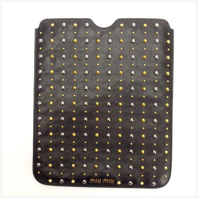 【中古】 ミュウミュウ miumiu ipadケース レディース ブラック×ゴールド×シルバー T13604