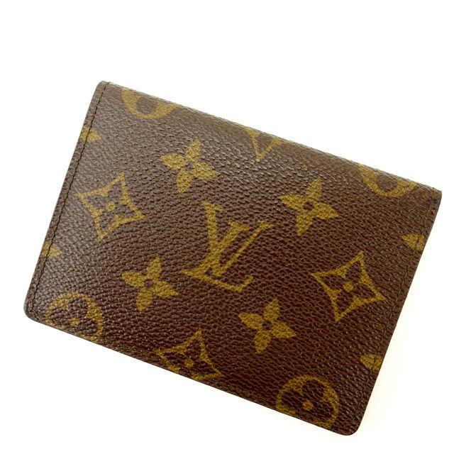 【中古】 ルイヴィトン Louis Vuitton 定期入れ /パスケース メンズ可 /ポルト2カルトヴェルティカル モノグラム M60533 ブラウン PVC×レザー (あす楽対応)美品 人気 Y1000 .
