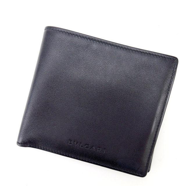 【中古】 ブルガリ BVLGARI 二つ折り財布 メンズ可 ブラック レザー (あす楽対応)人気 良品 Y1089 .