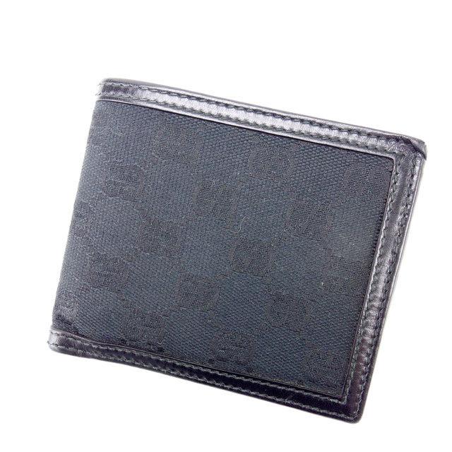 【中古】 グッチ 二つ折り財布 さいふ GGキャンバス ブラック GUCCI 二つ折りサイフ 財布 さいふ サイフ 収納ブランド ブランド財布 さいふ 2つ折り財布 さいふ ユニセックス 小物 人気 贈り物 迅速発送 在庫処分 1点物 T14000