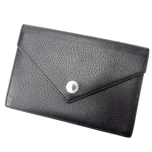 【中古】 ブルガリ BVLGARI パスポートケース メンズ可 ブラック レザー (あす楽対応)人気 美品 Y1122