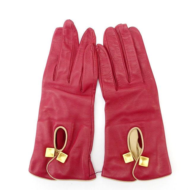 【中古】 セリーヌ CELINE 手袋 レディース レッド×ゴールド ラムレザー (あす楽対応)人気 美品 Y1162 .
