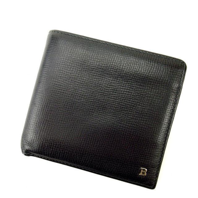 【中古】 バリー BALLY 二つ折り財布 メンズ可 ブラック レザー (あす楽対応)人気 良品 Y1163 .
