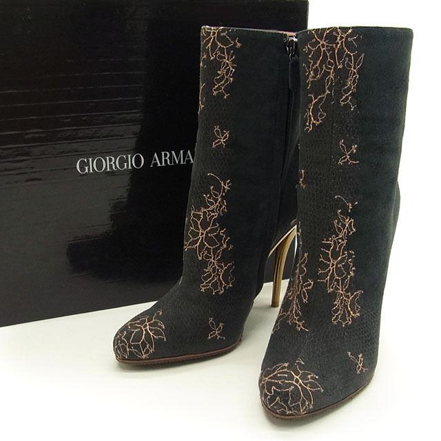 1e43b7624f5 Giorgio Armani GIORGIO ARMANI boots middle length shoes shoes Lady s ♯ 37  pin heel flower embroidery black X salmon pink suede rayon nylon  (correspondence) ...