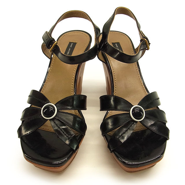【中古】 マークジェイコブス MARC JACOBS サンダル シューズ 靴 レディース ♯38 アンクルストラップ チャンキーヒール ブラック×ブラウン レザー (あす楽対応)人気 美品 Y1187 .