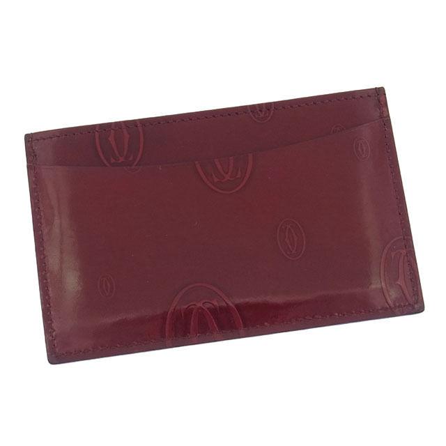 【中古】 カルティエ Cartier カードケース パスケース レディース ハッピーバースデー ボルドー エナメルレザー (あす楽対応)人気 良品 Y1199 .