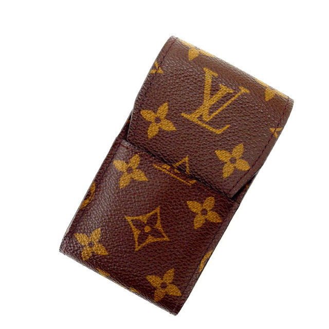 【中古】 ルイヴィトン Louis Vuitton シガレットケース タバコケース /メンズ可 /エテュイシガレット モノグラム M63024 ブラウン PVC×レザー (あす楽対応)人気 良品 Y1226 .
