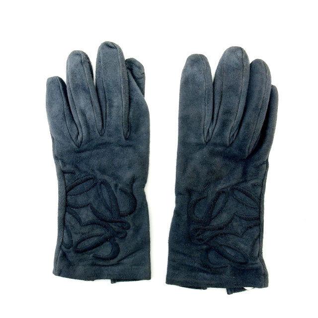 【中古】 ロエベ LOEWE 手袋 レディース グレー スエード (あす楽対応)人気 激安 Y1242 .