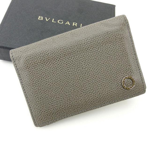 【中古】 ブルガリ BVLGARI カードケース メンズ可 グレー レザー (あす楽対応)人気 激安 Y1272 .