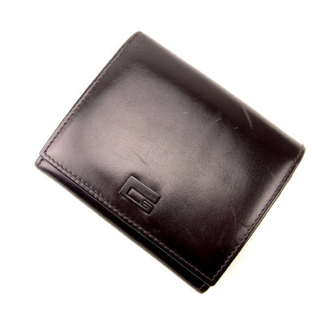 【中古】 グッチ GUCCI 三つ折り財布 Wホック メンズ可 ブラウン レザー (あす楽対応)人気 良品 Y1290 .