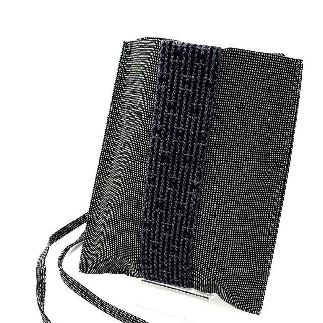 【中古】 エルメス HERMES ショルダーバッグ ポシェット メンズ可 エールライン ブラック×グレー 綿100% (あす楽対応)人気 良品 Y1293 .