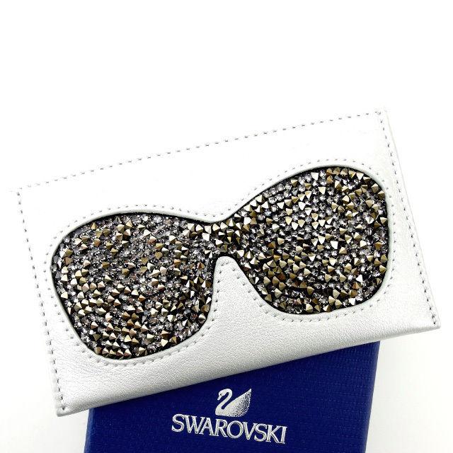 【中古】 スワロフスキー SWAROVSKI カードケース レディース サングラス シルバー×ブラック スワロフスキー×レザー (あす楽対応)人気 未使用 Y1296 .