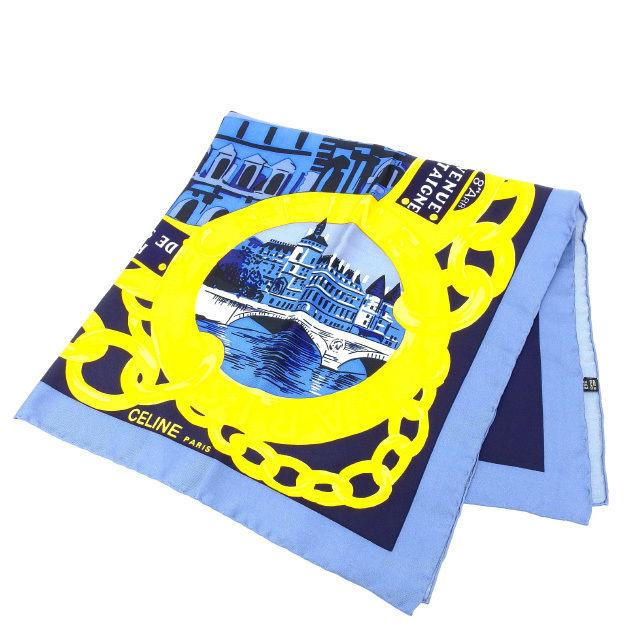 【中古】 セリーヌ CELINE スカーフ レディース ブルー×ゴールド T13460