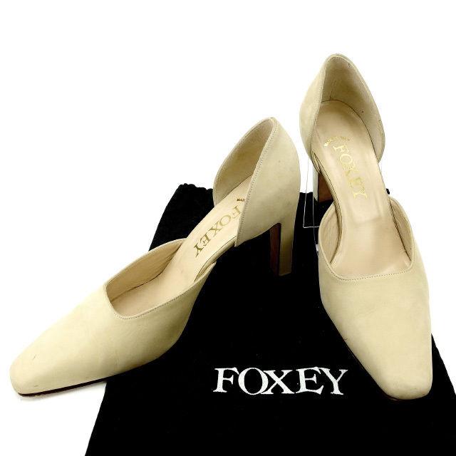 【中古】 フォクシー FOXEY パンプス #36 1/2 レディース ベージュ スエード (あす楽対応)人気 良品 Y1383 .