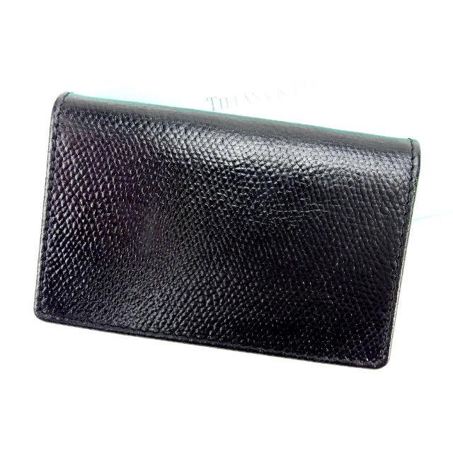 【中古】 ティファニー Tiffany&Co カードケース パスケース メンズ可 ブラック レザー (あす楽対応)人気 良品 Y1417 .