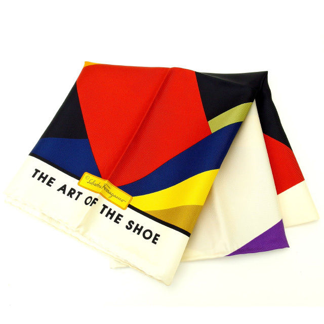 【中古】 サルヴァトーレ・フェラガモ Salvatore Ferragamo スカーフ メンズ可 100%シルク (あす楽対応)人気 美品 Y1426 .