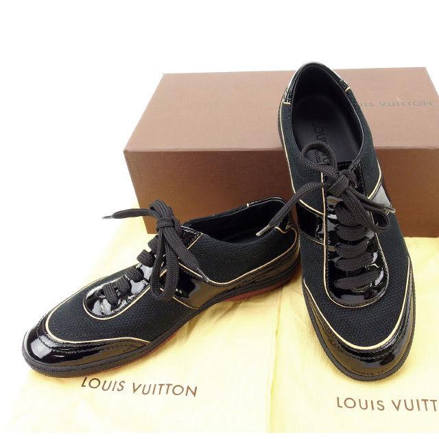 【中古】 ルイヴィトン Louis Vuitton スニーカー #35 レディース ブラック キャンバス×エナメル (あす楽対応)人気 未使用 Y1431 .