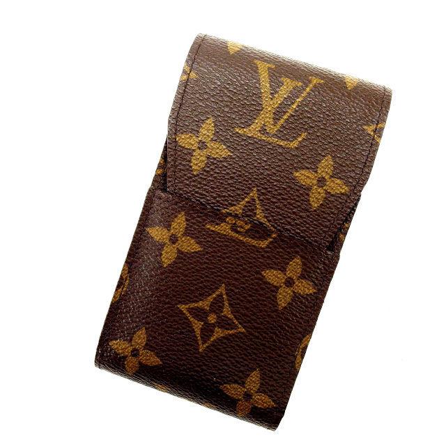 【中古】 ルイヴィトン Louis Vuitton シガレットケース タバコケース メンズ可 エテュイシガレット モノグラム M63024 ブラウン PVC×レザー (あす楽対応)人気 美品 Y1432 .