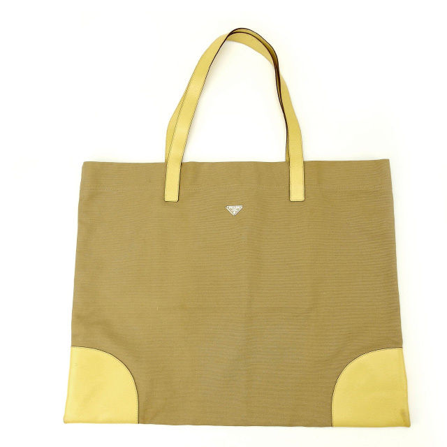 eae539f8f8e5 Prada PRADA tote bag one shoulder men's possible beige X yellow canvas X  leather (correspondence) quality goods popularity Y1444