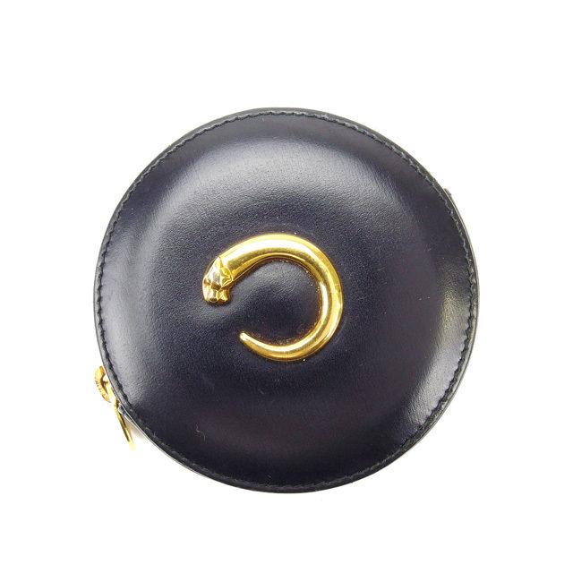 【中古】 カルティエ Cartier コインケース メンズ可 パンテール ブラック×ゴールド レザー (あす楽対応)人気 良品 Y1509 .