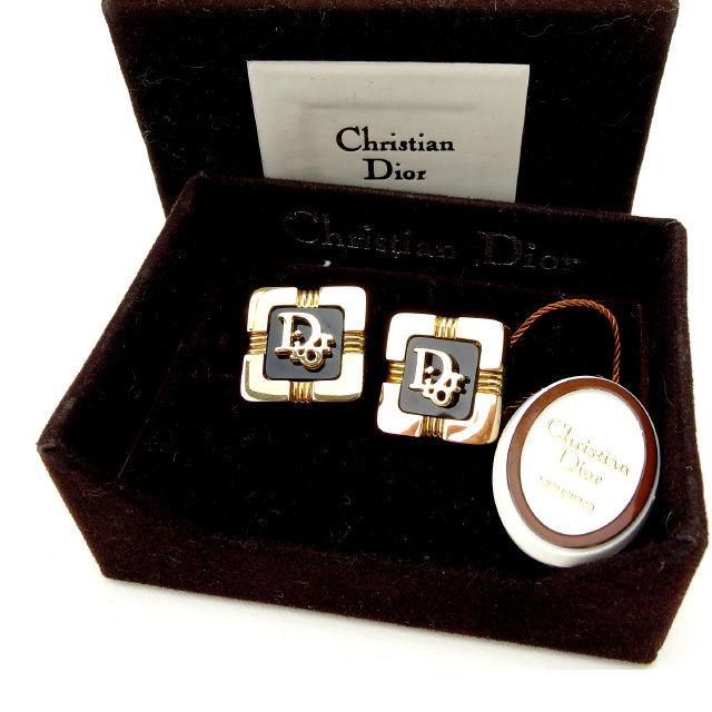 【中古】 クリスチャン・ディオール Christian Dior カフス メンズ ヴィンテージ ゴールド×ブラック (あす楽対応)廃盤レア 美品 Y1545 .