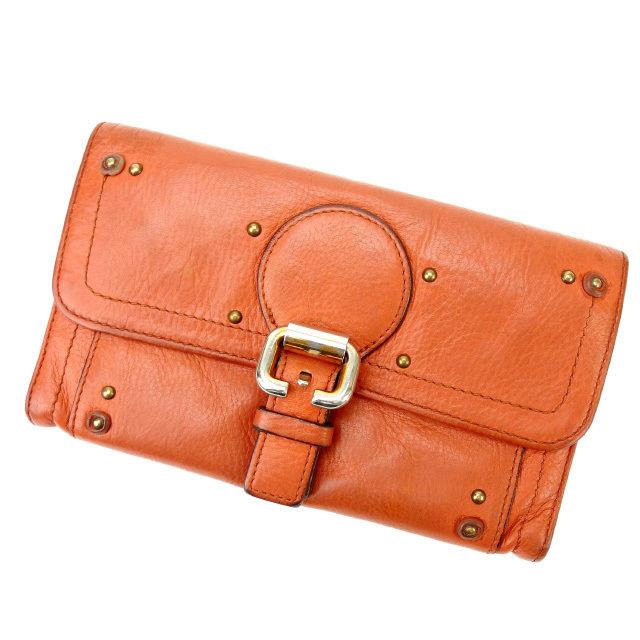 【中古】 クロエ Chloe 二つ折り財布 メンズ可 ブラウン×オレンジ レザー (あす楽対応)人気 激安 Y1558 .