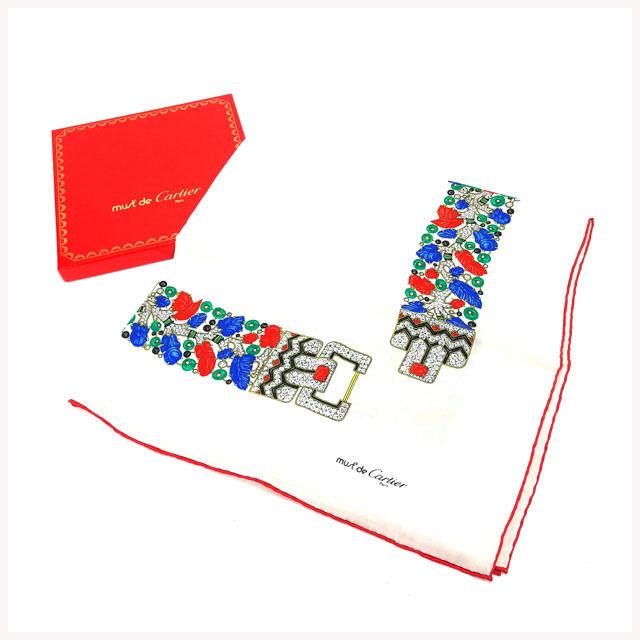 【中古】 カルティエ Cartier スカーフ レディース マストライン ホワイト×レッド 100%シルク (あす楽対応)人気 中古 Y1569 .