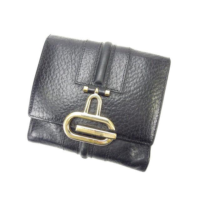 【中古】 グッチ GUCCI Wホック財布 メンズ可 ブラック×ゴールド レザー (あす楽対応)人気 激安 Y1575 .