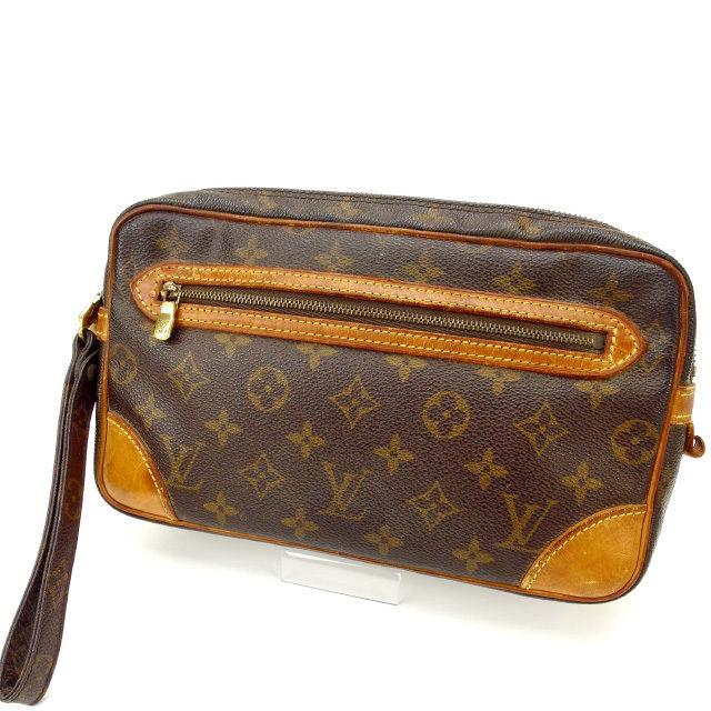 【中古】 ルイヴィトン Louis Vuitton セカンドバッグ クラッチバッグ メンズ可 /マルリードラゴンヌGM モノグラム M51825 ブラウン PVC×レザー (あす楽対応)人気 激安 Y1654 .