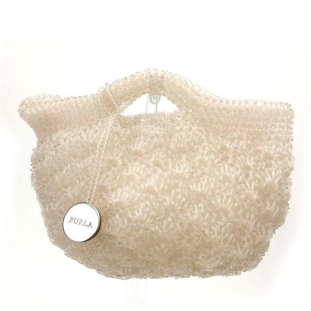 【中古】 フルラ FURLA トートバッグ ハンドバッグ 編みこみ ホワイト ビニール (あす楽対応)人気 美品 Y1666 .