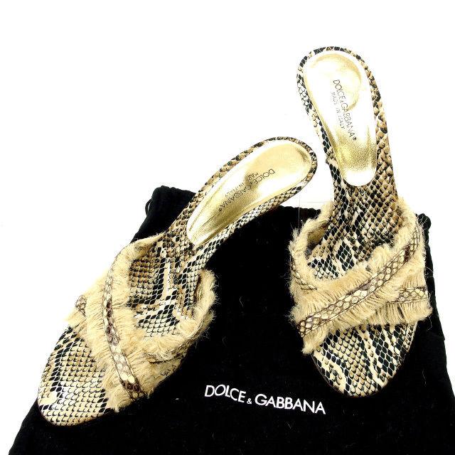 【中古】 ドルチェ&ガッバーナ DOLCE&GABBANA サンダル #36 レディース パイソン ベージュ×ゴールド 麻×レザー (あす楽対応)人気 良品 Y1677 .