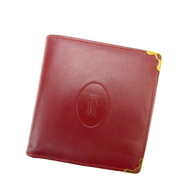 【中古】 カルティエ Cartier 二つ折り財布 メンズ可 マストライン ボルドー レザー (あす楽対応)人気 良品 Y1689 .