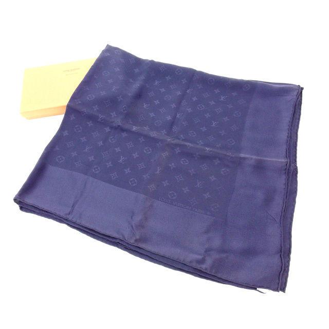 【中古】 ルイヴィトン Louis Vuitton スカーフ メンズ可 モノグラム ネイビー 100%シルク (あす楽対応)人気 美品 Y1754 .