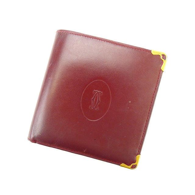 【中古】 カルティエ 二つ折り財布 さいふ マストライン ボルドー Cartier 二つ折りサイフ 財布 さいふ サイフ 収納ブランド ブランド財布 さいふ 2つ折り財布 さいふ ユニセックス 小物 人気 贈り物 迅速発送 在庫処分 1点物 T15899