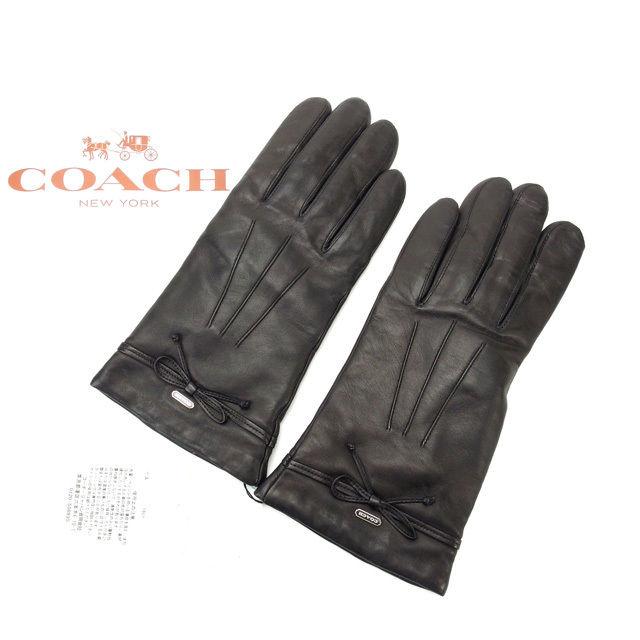 【中古】 コーチ COACH 手袋 メンズ可 7ハーフ ブラック レザー (あす楽対応) 未使用 Y1758