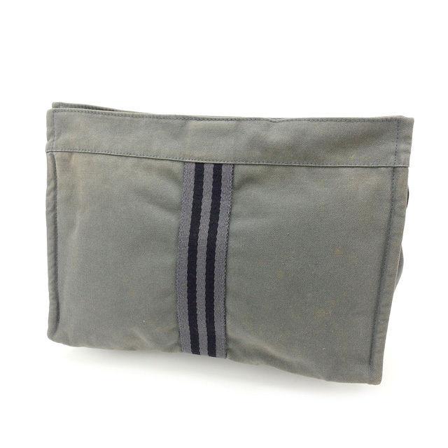 【中古】 エルメス HERMES クラッチバッグ セカンドバッグ メンズ可 フールトゥ グレー×ブラック 綿100% (あす楽対応)人気 激安 Y1835 .