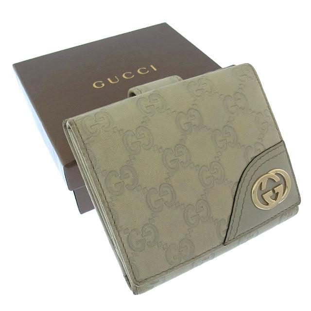 【中古】 グッチ GUCCI Wホック財布 二つ折り メンズ可 インターロッキングG グッチシマ 181594 ベージュ×ゴールド レザー (あす楽対応)激安 Y1920 .