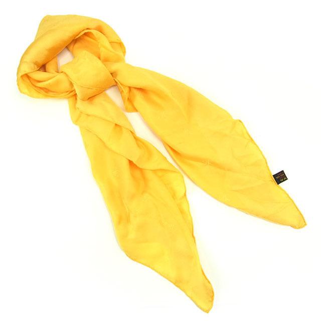 【中古】 ルイヴィトン Louis Vuitton スカーフ 大判サイズ メンズ可 カレモナコ イエロー SILK/100% (あす楽対応)激安 Y1960