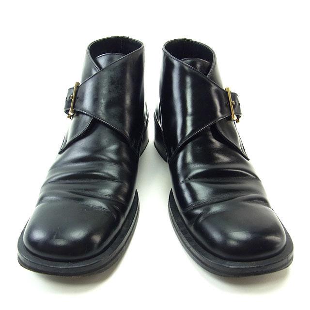 【中古】 グッチ GUCCI ブーツ ラウンドトゥ 靴 シューズ レディース ♯6ハーフB ショート丈 ブラック×ゴールド T12876