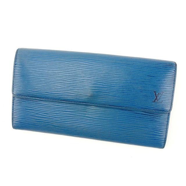 【中古】 ルイヴィトン Louis Vuitton 二つ折り長財布 /メンズ可 /ポシェットポルトモネクレディ エピ M63575 トレドブルー レザー (あす楽対応)人気 Y1982