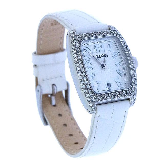 【中古】 フォリ フォリ Folli Follie 腕時計 ファッションアイテム シルバー×ホワイト ラインストーン付き スクエアフェイス レディース Y2075s