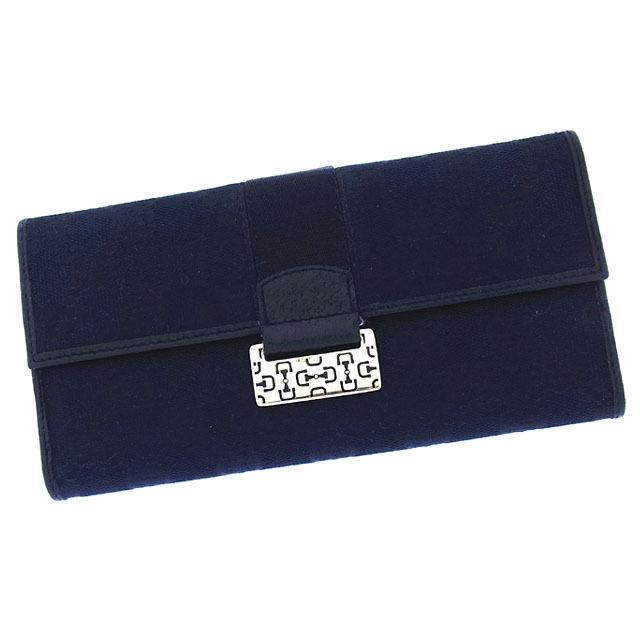 【中古】 グッチ GUCCI 長財布 Wホック 二つ折り メンズ可 ビット柄プレート付き GGキャンバス 146206 ブラック×ゴールド キャンバス×レザー (あす楽対応) 良品 Y2082 .