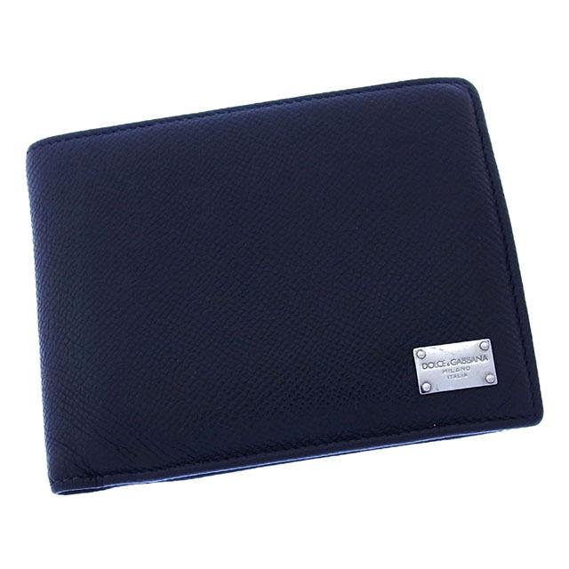 【中古】 ドルチェ&ガッバーナ DOLCE&GABBANA 二つ折り財布 コンパクトサイズ メンズ ロゴプレート ブラック×シルバー レザー (あす楽対応) 良品 Y2189 .