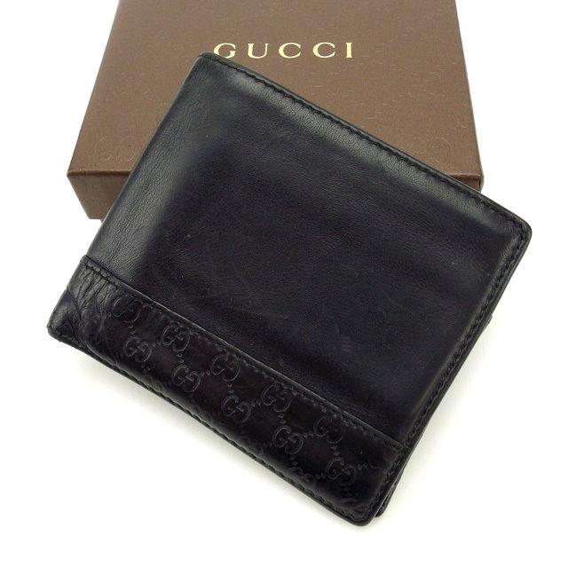 【中古】 グッチ GUCCI 二つ折り財布 メンズ可 グッチシマ ブラック レザー (あす楽対応)激安 Y2223 .