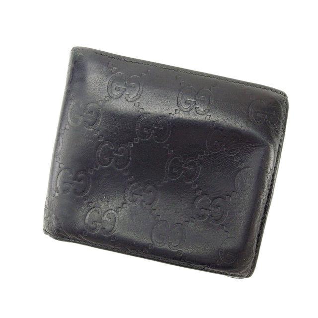 【中古】 グッチ GUCCI 二つ折り財布 メンズ可 グッチシマ ブラック レザー (あす楽対応)激安 Y2234 .