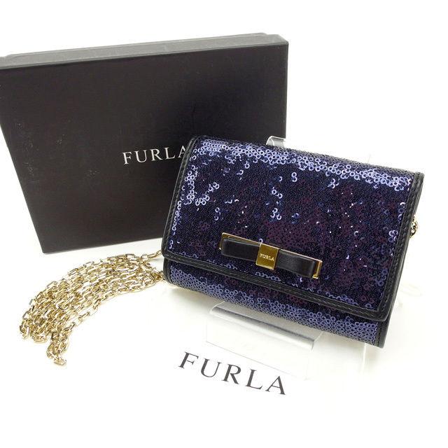 【中古】 フルラ FURLA カードケース チェーンショルダー メンズ可 スパンコール ネイビー×ブラック レザー (あす楽対応)人気 良品 Y2250