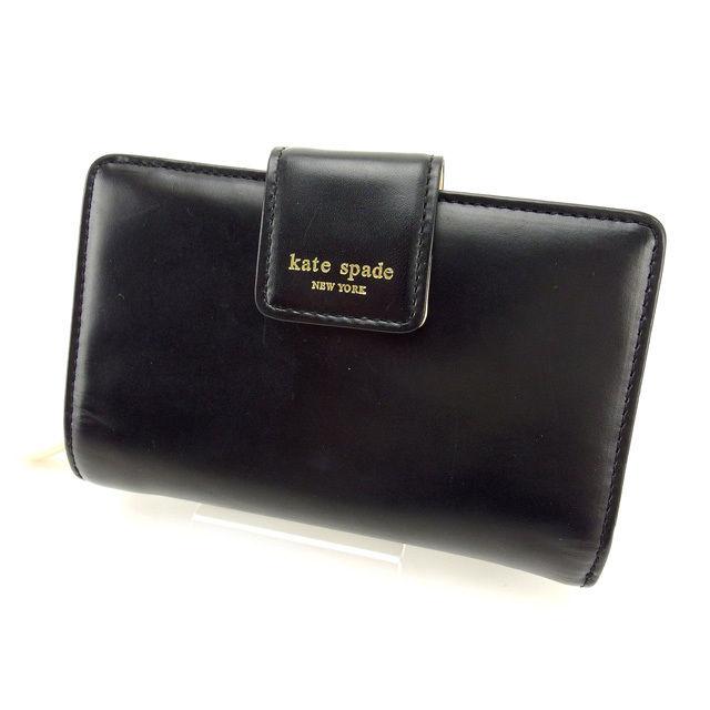 【中古】 ケイト・スペード kate spade 二つ折り財布 レディース ブラック×ベージュ レザー (あす楽対応) 良品 Y2341 .