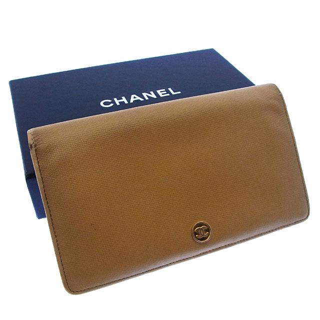【中古】 シャネル CHANEL 長財布 ファスナー 二つ折り メンズ可 ココボタン ベージュ×ゴールド レザー (あす楽対応)激安 Y2369