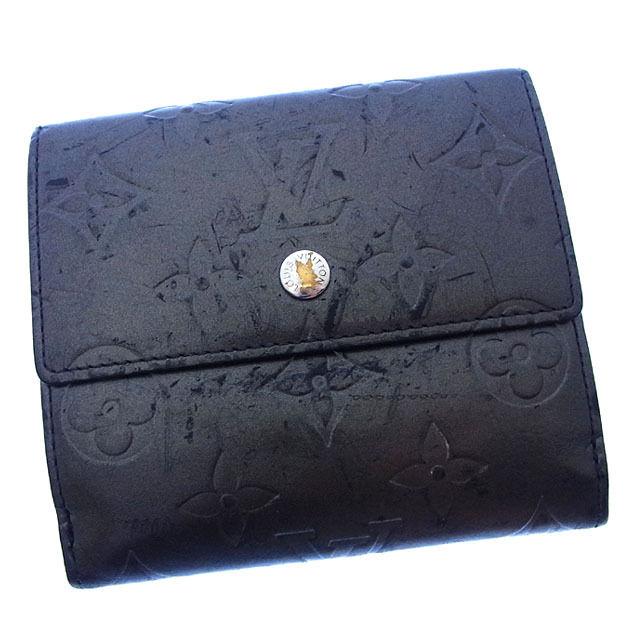 【中古】 ルイヴィトン Louis Vuitton Wホック財布 二つ折り メンズ可 ポルトモネビエカルトクレディ モノグラムマット M65112 ノワール(ブラック) モノグラムマットレザー (あす楽対応)激安 Y2370 .