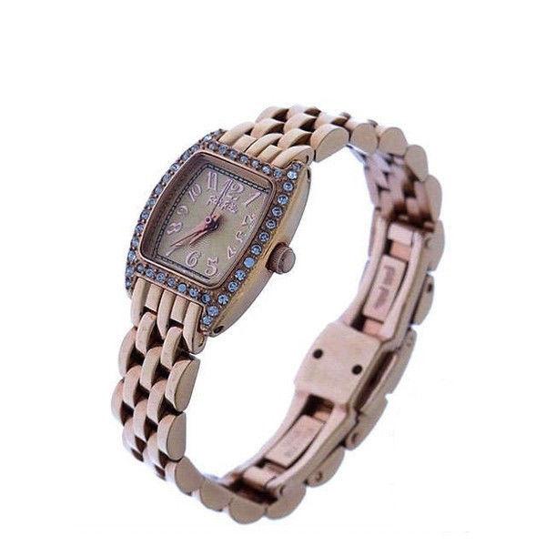 【中古】 フォリフォリ Folli Follie 腕時計 クォーツ レディース ラインストーンベゼル スクエアフェイス ピンクゴールド×クリア ステンレススチール×ラインストーン (あす楽対応) 美品 Y2388